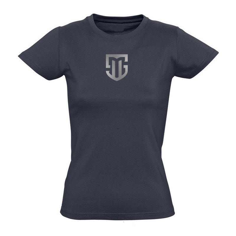 T-Shirt Damen navy Logo MS silber
