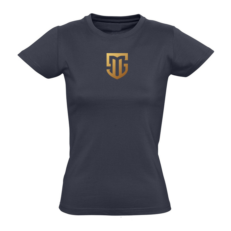 T-Shirt Damen navy Logo MS gold